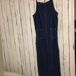VtG 90s Long Blue Jean denim dress overall style
